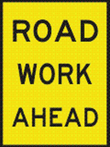 Road Work Ahead safety sign used for traffic control