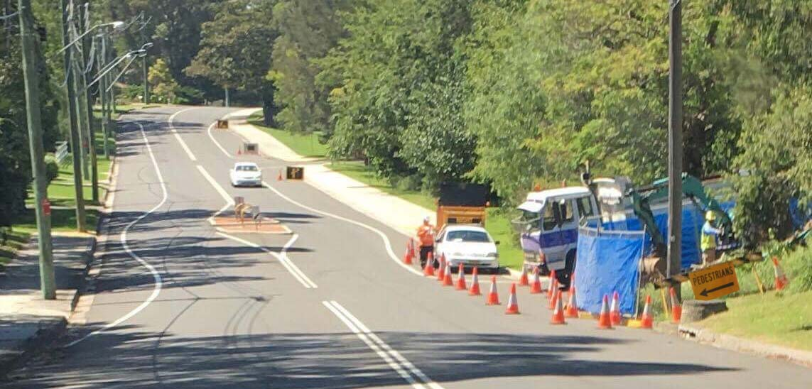 Traffic Control during shoulder works on O'Brien's rd, Figtree