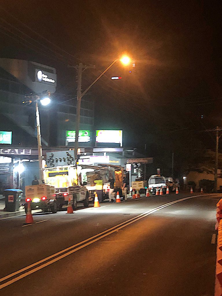 Night-time Traffic Control at Hospita lHill in Wollongong, including a Day Maker light